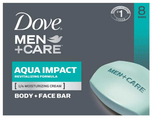 Dove Men+Care Aqua Impact Body and Face Bar, 8 count, 4 oz.