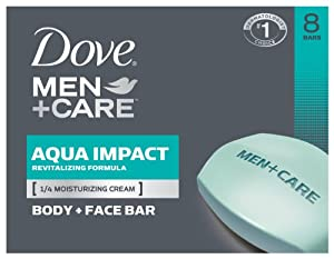 Dove Men+Care Body and Face Bar, Aqua Impact 4 oz, 8 Bar