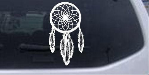 Dreamcatcher Western Car or Truck Window or Laptop Decal Sticker -- White 6in X 3.3in