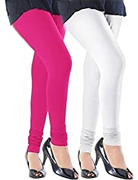 K.P.Creation White & Rani Pink Cotton Lycra Legging Combo (Free Size)
