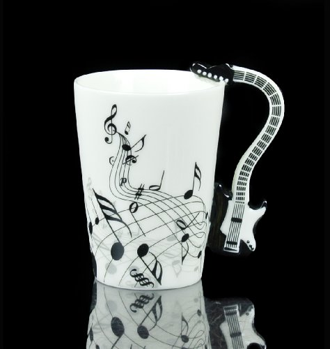 Black Guitar Electric Bass Music Note Coffee Cup Mug Christmas Gift