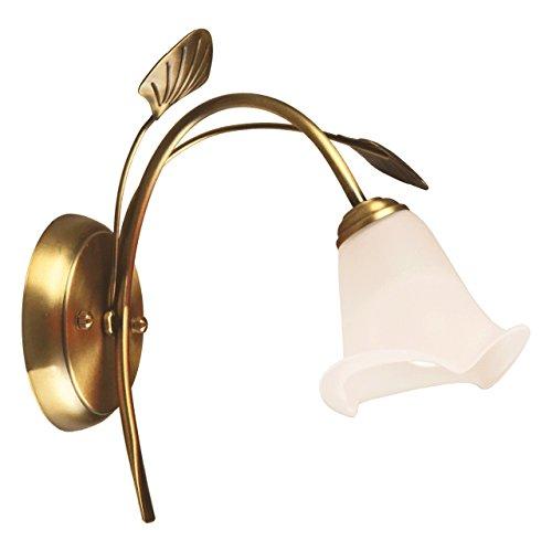 Applique style classique, armature en métal couleur laiton, plafonnier en forme de fleur 1 ampoule E14 1x60W 230V