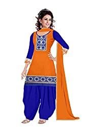 Queen Creation Women's Beautiful Semistitched Embroidered Orange & Blue Dress Material