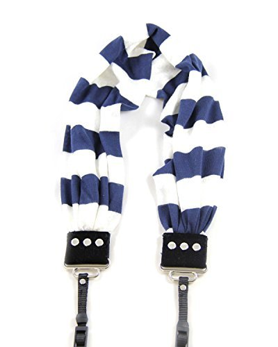 Capturing Couture SCARF-STNV Navy Stripe Scarf Collection Camera Strap