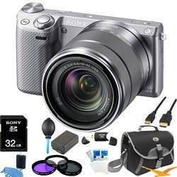 Sony NEX-5R NEX5R, NEX5RKS, NEX5RK 16.1 MP Compact Interchangeable Lens Digital Camera Silver Wifi, With 18-55mm Lens ULTIMATE BUNDLE with 32GB High Speed Card, Spare Battery, Deluxe Filter Kit, Mini HDMI cable, SD card reader, Padded case + More!