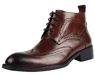 CGNP Men's Vintage Real Leather Lace Up Brogue Ankle Boot Red Brown 44 EU