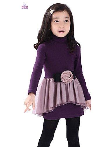 CBIN&HUA Vestito Girl Manica lunga Inverno Misto cotone , purple-140 , purple-140