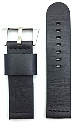 24Mm Black, Panerai Style, Smooth Leather Watch Band
