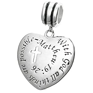 925 Sterling Silver Bible Quote With God All Things Are Possible European Dangle Charm