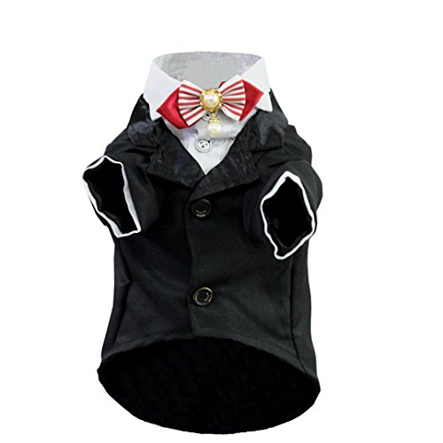 [Sagton® Dapper Dog Pet Costume Puppy Dogs Tuxedo Suit Coat Clothes (S, Black)] (Dapper Dog Tuxedo Pet Costumes)