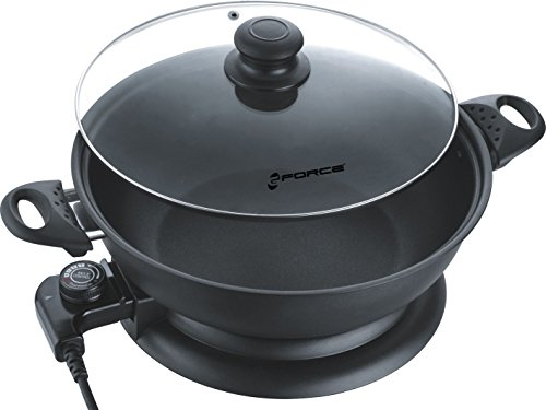 For Sale! GForce GF-P1395-895 1250Watt Round Non-Stick Electric Skillet Frying Pan with Tempered Glass Lid, 12″, Black