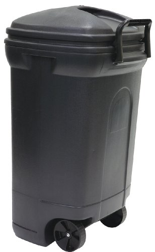 United Solutions TB0010 Rough and Rugged Rectangular 34 Gallon Wheeled  Black Outdoor Trash Can with Hook&Lock Handle-Thirty Four Gallon Garbage Can with Locking Handles (Trash Cans With Wheels compare prices)