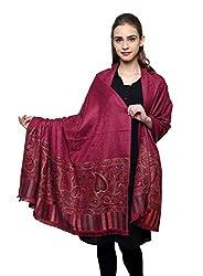 Violet Fine wool multi border shawl