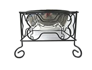 """YML 7-Inch Wrought Iron Stand with Single Stainless Steel Bowl - Size: Medium (6.75"""" H x 8.25"""" W x 8.25"""" D)"""