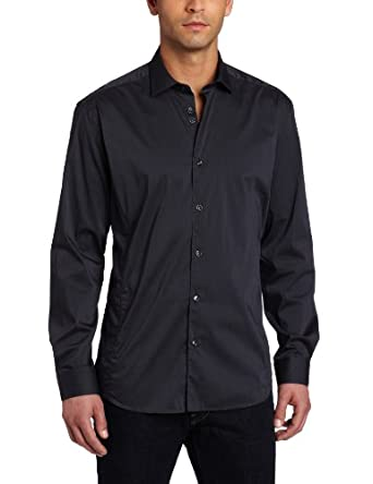 Stone Rose Men's Button Down Woven Rounded Seams Dress Shirt, Static Charcoal, 4