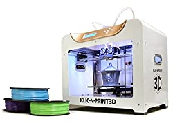 Klic-N-Print 3D Printer, Dual Extruder, W/2 Free Spools of Filament, 6 X 6 X 9 Build Volume