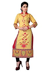 Fashion Galleria Women's Yellow American Creap Kurti