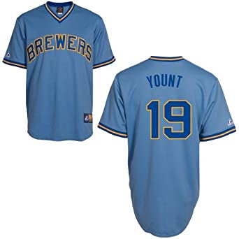 Mens Yount of Brewers RC Synthetic Replica Baseball Jersey,Columbia Blue by Majestic