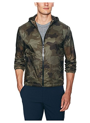 Zegna Sport Green Camouflage Print Rain Jacket X-Large XL Hooded Lightweight