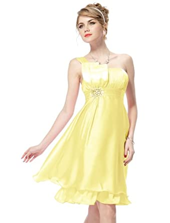 Ever Pretty Ruffles Silk Satin Bow Rhinestones One Shoulder Cocktail Dress 03229, HE03229YL12, Yellow, 10US
