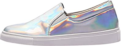holographic laceless sneakers
