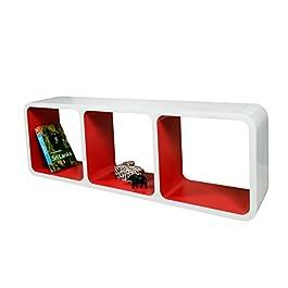Estanteria Flotante Diseño Moderno Para Pared Cubo CD Retro Librero Exhibición Tienda Blanco & Rojo LO013BR
