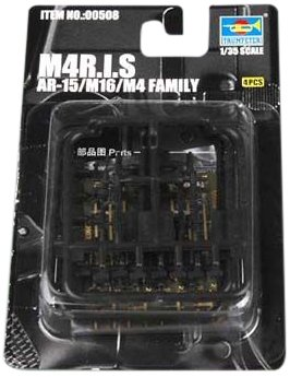 Trumpeter AR15/M16/M4 Family M4RAS Machine Guns, Scale 1/35, 4-Pack
