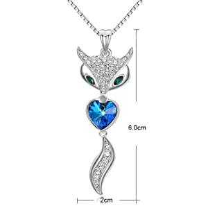 Yoursfs Gorgeous Fox Heart Shaped Sapphire Pendant Necklace Shining Crystal Cut 18K White Gold Plate