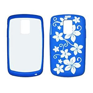 Flexible Silicone Skin Blue with White Hawaiian Flowers Case for Samsung Jack I637