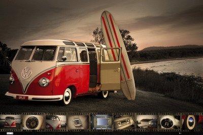 Poster 'VW Kombi - tavola da surf', Dimensioni: 91 x 61 cm