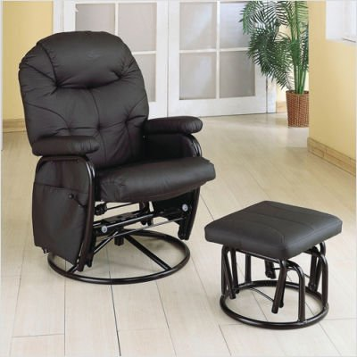 Bone Leatherette Cushion Swivel Glider Recliner With