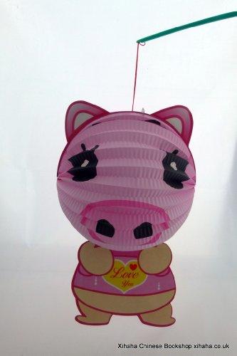 Forme de porc Signe chinois du zodiaque Lampion Tang Loong avec LED et la poignée de main