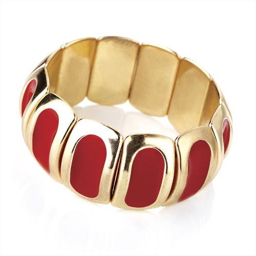 Bling Online Gold & Red Enamel Bracelet.