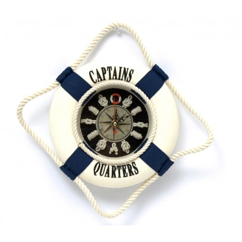 Clock, Nautical Knot Board, Cloth Life Ring, Compass Star, 8-inch, Captains Quarters Wall Decor
