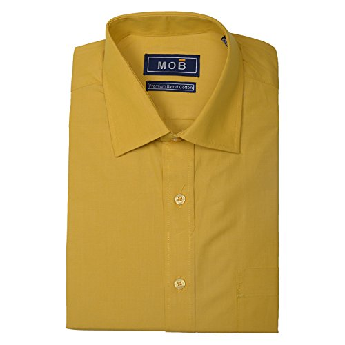 Mustard Mob Men's Blended Cotton Mustard Shirt (DSC0378) (Multicolor)