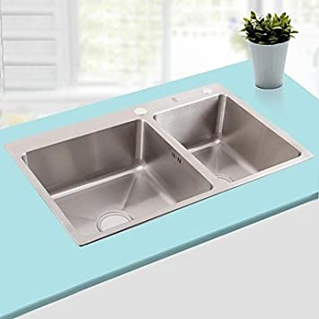 lanmei L29.5 Inch Double Bowl 304 Stainless Steel Kitchen Sink