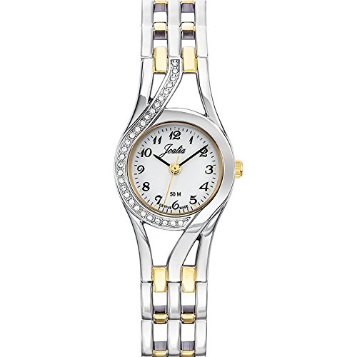 Joalia-634597-Orologio da donna con cinturino in metallo con quadrante bianco, colore anello: Bicolore