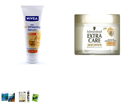 Special Set :Nivea Uv White Serum Body Lotion 220Ml. Plus Schwarzkopf Extra Care Hair Total Repair 19 Mask