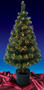 #!Cheap 4' Pre-Lit Color Changing Fiber Optic Artificial Christmas Tree - Multi Lights