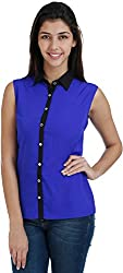 Bhama Couture Women's Button Down Shirt (Blue, 42)
