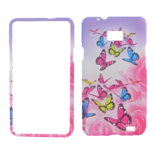 Rubberized Rose Butterfly Straight Talk Samsung Galaxy S959g S2 SII Ii 2 Hybrid Snap on Cover Mobile Phone Accessory (Straight Talk Samsung Galaxy Sii compare prices)