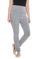 COLORS & BLENDS - Mixture Grey Woolen-Lycra Leggings for Women