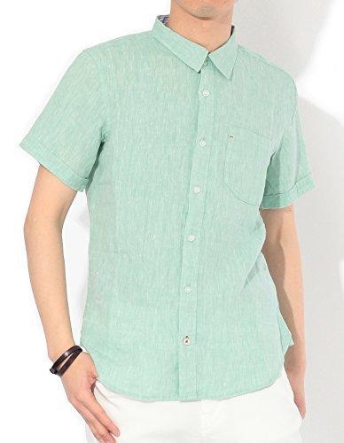 (リピード) REPIDO リネンシャツ メンズ シャツ 麻シャツ 半袖シャツ 無地 フレンチリネン 半袖 フレンチリネンシャツ グリーン Mサイズ
