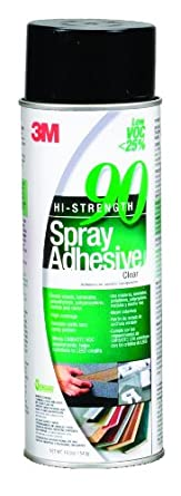 3M Hi-Strength 90 Spray Adhesive Low VOC <25% Clear, 24 fl oz can net weight 19.0 oz (Pack of 1)