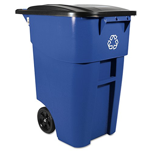 Rubbermaid Commercial RCP 9W27 BLU Brute Rollout Waste Receptacles Container, Square, Plastic, 50 gal, Blue (50 Gal Rubbermaid Container compare prices)