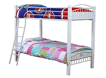 White Barcelona Single 3FT Wood & Metal Bunk Bed Frame in Beech with 2 Economy Spring Mattresses