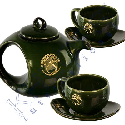 Ceramic Tea Set Tree of Life Green (5 pcs)