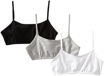 Maidenform Girl Big Girls' 3 Pack Crop Bra, Heather Grey/White/Black, Small