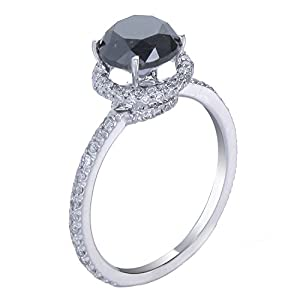 14K White Gold Black Diamond Engagement Ring (2.50 CT) In Size 7