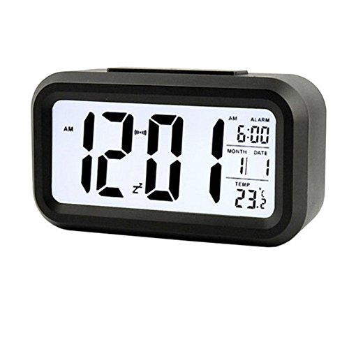 Amyove Digital Snooze Electronic LED Alarm Clock Backlight Time Calendar Thermometer Black